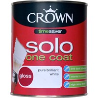 Crown Solo One Coat Gloss Brilliant White Paint - 750ml