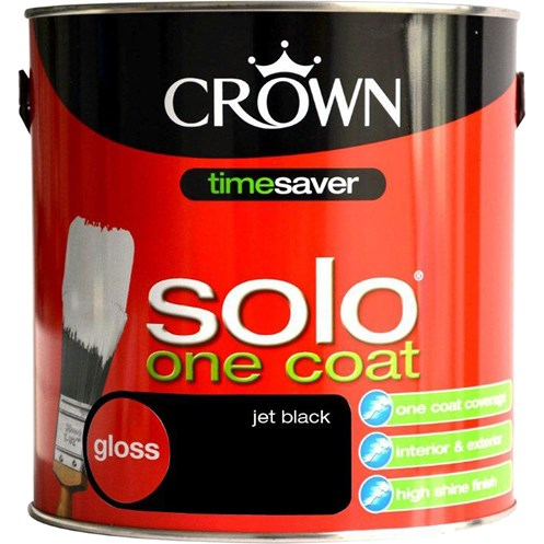 Crown Solo One Coat Gloss Jet Black Paint - 2.5 Litre