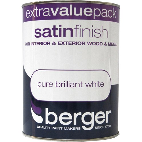 Berger  Satin Brilliant White Paint - 1.25 Litre
