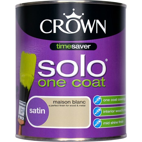 Crown Solo One Coat Satin Colours Paint - 750ml
